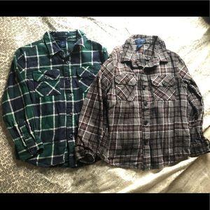 Boys plaid button up flannel shirts